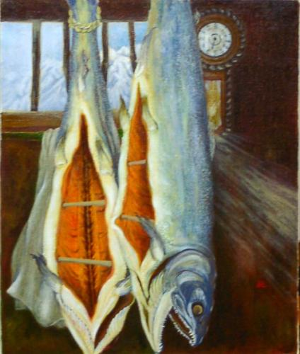 冬の晴れた日に 塩引鮭