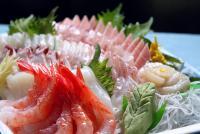 刺身、手巻き寿司、浜焼き