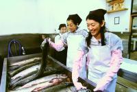 雄鮭に塩をすり込み約1週間塩漬け、真水で塩を抜き1週間ほど完封に干しながら熟成